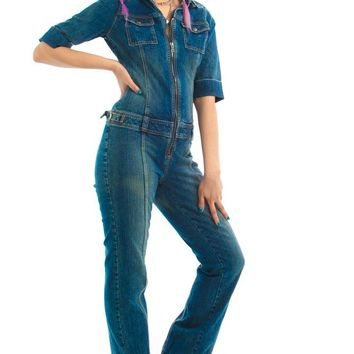 Vintage Y2K Guess Stretch Denim Jumpsuit - S/M