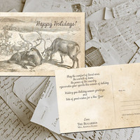 "50 Season Greetings Cards - Happy Holidays Vintage Personalized 4""x6"""