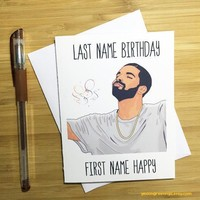 Drake Last Name Birthday First Name Happy Birthday Card FREE SHIPPING
