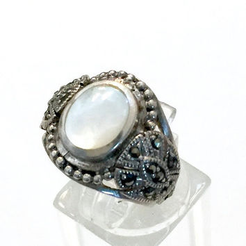 Sterling Silver Mother of Pearl Ring, Marcasite Accents, Intricate Sterling Details, Inlayed MOP Center, Boho Style, Vintage Statement Ring