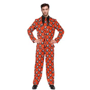 Men's Print Stand Out Suit 90s Skull Pattern Gents Suit Funny Costume