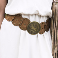 Sitting Pretty Leather Circular Embellished Camel Studded Waist Belt
