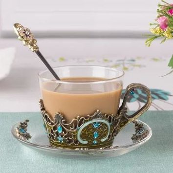Jeweled Glass Cup and Saucer Set Includes Jeweled Stirring Spoon