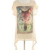 Off-white Print Top - Go Wild Fox Oversize Tee | UsTrendy