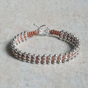 Wrap Beaded Bracelet with Silver Plated Beads and Heart Clasp, brown macrame hand knotted Bracelet, elegant jewelry