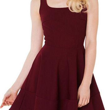Red Sleeveless Sheath A-Line Mini Skater Dress