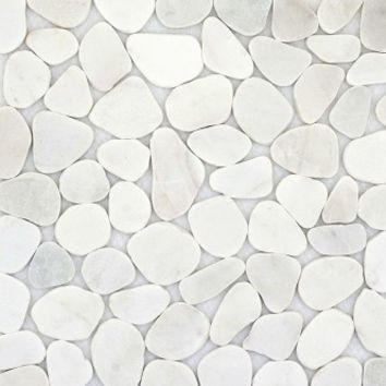 White Marble Sliced Pebble Tile