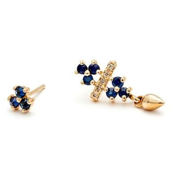 Anna Sheffield 'Emma Bloom Bullet' Mismatched Sapphire & Champagne Diamond Stud Earrings | Nordstrom