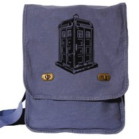 Doctor Who Messenger Bag Tardis Bag Blue Canvas Policebox Field bag