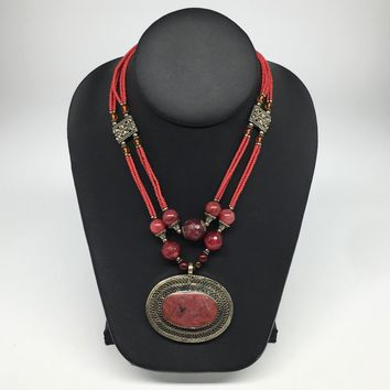 Turkmen Necklace Afghan Antique Tribal Fashion Multi Strand Beaded Necklace S140