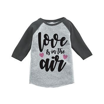 Custom Party Shop Kids Love is in the Air Valentine's Day Grey Raglan