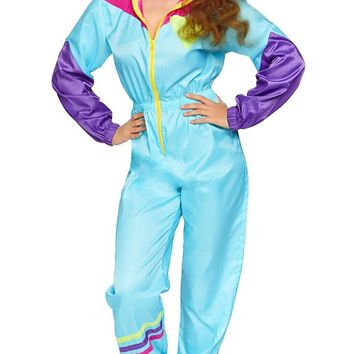 I Love The '80s Blue Purple Pink Color Block Long Sleeve Zip Elastic Waist Loose Jumpsuit Halloween Costume