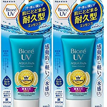 2017ver. Biore Sarasara UV Aqua Rich Watery Essence Sunscreen SPF50+ PA+++ 50g (Pack of 2)
