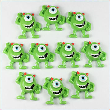 Wholesale Lot 10pcs Cute Mike Wazowski Resin Cabochons Flatbacks Flat Back Scrapbooking Girl Hair Bow Card Frame Making Crafts DIY