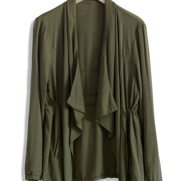 Olive Waterfall Coat Green S/M