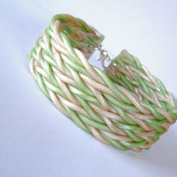 Sage Green Cuff Bracelet  Woven Polymer Clay by JustClayin on Etsy