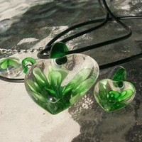 designer artiste glass blown bead green demi parure Brand New coming with hooks & made However use your imagination