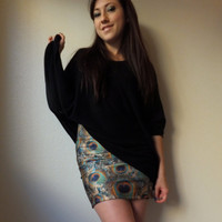 Peacock Mini Skirt High Waisted MADE TO ORDER