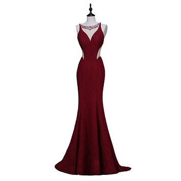 Wine Red Long Elegant Memaid Evening Dresses Sexy Party Beads Tulle Lace Black Prom Dresses
