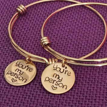You're My Person Bracelets   Best Friend Jewelry   Anatomy Quote   Bff Jewelry   Youll Always Be My Person   Gold Color Friends Forever