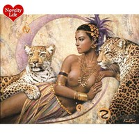 New Frame DIY Digital Oil Painting by Numbers Beauty Leopard Color Abstract Picture Wall Art Canvas Animal Room Home Decoracion