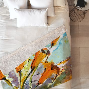 Ginette Fine Art Autumn Lilies Fleece Throw Blanket