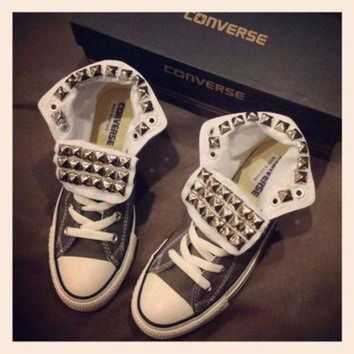 DCCKHD9 Custom studded grey Converse size 8 women by KillerCreationz