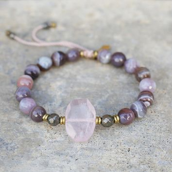 Botswana and Rose Quartz Adjustable bracelet