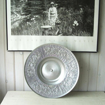 Vintage Aluminum Lazy Susan Serving Tray Lily Pattern