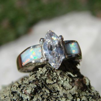 White Wedding  Opal Inlaid in Sterling Silver by Firefallstudios