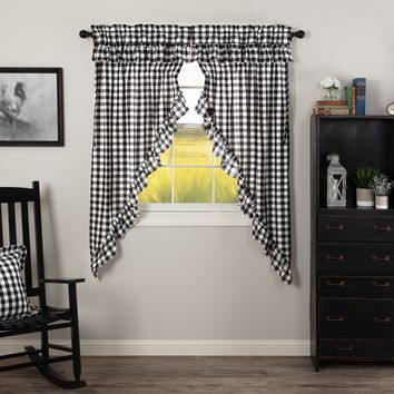 Annie Black Buffalo Check Ruffled Short Prairie Curtains