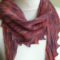Women's Hand Knit Scarf - Knit Scarf - Lilac and Orange