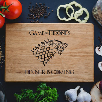 Dinner is coming. Game of Thrones Stark family. Wooden Custom Engraved Cutting Chopping Board, anniversary gift