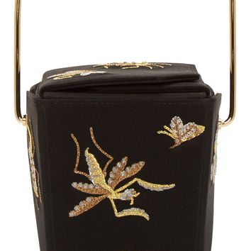 Charlotte Olympia Black Silk Take Me Away Clutch