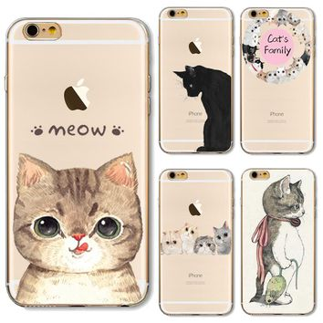 For iPhone5S Soft TPU Cover For Apple iPhone 5 5S SE iPhone5 Case Cases Phone Shell Hot Sales Painted Playful Cat Silicone