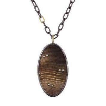 Petrified Wood with Diamond Inlay Pendant Necklace