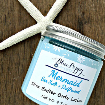 Mermaid Body Lotion, Sea Salt + Driftwood, Shea Butter Lotion, Body Butter, Skin Moisturizer, Lotion with Fragrance, Beach Ocean Scent