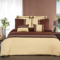 Astrid Embroidered Gold and Chocolate Multi Piece Comforter Set