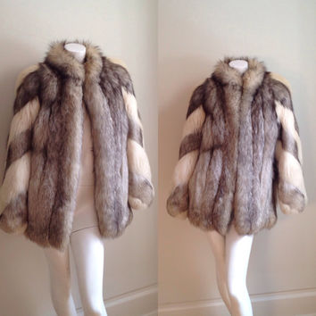Vintage 70s Arctic Silver Fox 2 Tone Stripe Genuine Lush Fox Fur Bell Sleeve Jacket Stroller Winter Drape Coat Boho Hippie XS M