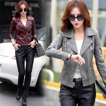 2017 Autumn Leather Clothing Female Short Leather Coats Slim Fashion Women's Leather Jacket Motorcycle Leather coat