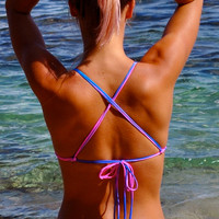 Double Cross Back Bikini Top Bright Pink and Purple Tie Dye Holographic Print, Long Strap Criss Cross Back