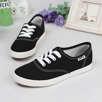 2016 classic canvas shoes woman lace up low ladies shoe breathable female footwear casual shoes