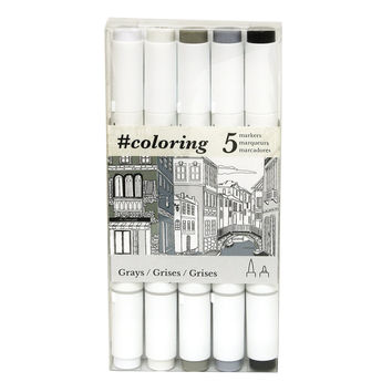 Art Alternatives #coloring - Professional Alcohol Based Coloring Markers 5 Grey Colors Ideal for the Johanna Basford Coloring Canvas Range Gray