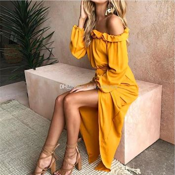 2018 New Bohemian Off Shoulder Ruffles Women Summer Beach Long Dresses Vintage Floral Print Maxi Dress Split Vestido