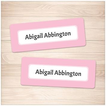 Pink Border Name Labels for School Supplies - Printable