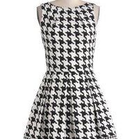 Audrey's Top of the A-line Dress in Houndstooth | Mod Retro Vintage Dresses | ModCloth.com