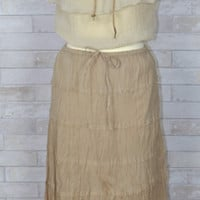 Summer Cotton Crinkle Tiered Ankle Skirt-Mocha