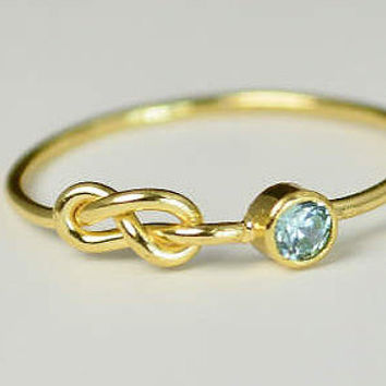 14k Gold Aquamarine Infinity Ring, 14k Gold Ring, Stackable Rings, Mother's Ring, March Birthstone, Gold Infinity Ring, Gold Knot Ring