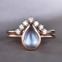 Pear Moonstone Engagement Ring Sets Diamond Wedding 14k Rose Gold 6x8mm