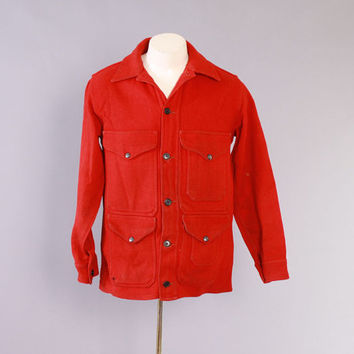 Vintage 60s FILSON JACKET / 1960s Men's Red Wool Cruiser Mackinaw Work Hunting Jacket M
